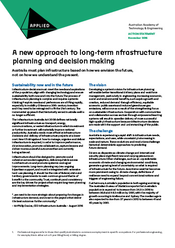 A new approach to long-term infrastructure planning and decision