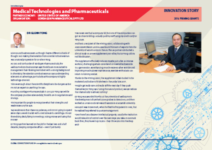 Medical Technologies and Pharmaceuticals - The Global Connections Fund - Innovation Stories: Priming Grants 2016