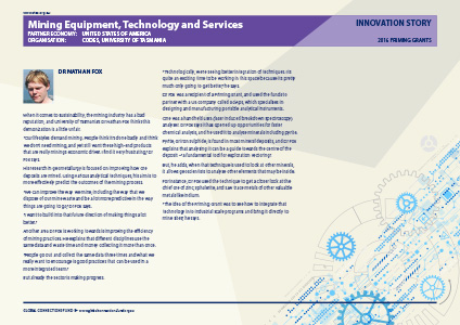 Mining Equipment, Technology and Services - The Global Connections Fund - Innovation Stories: Priming Grants 2016