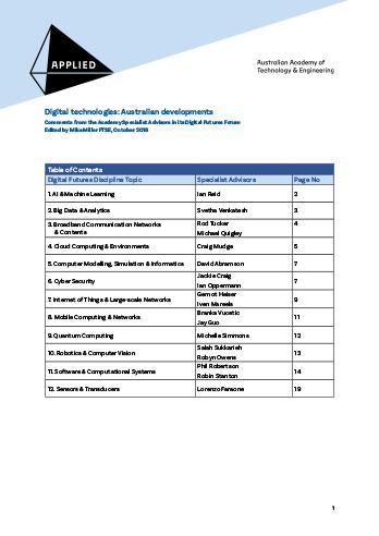 Digital technologies: Australian developments
