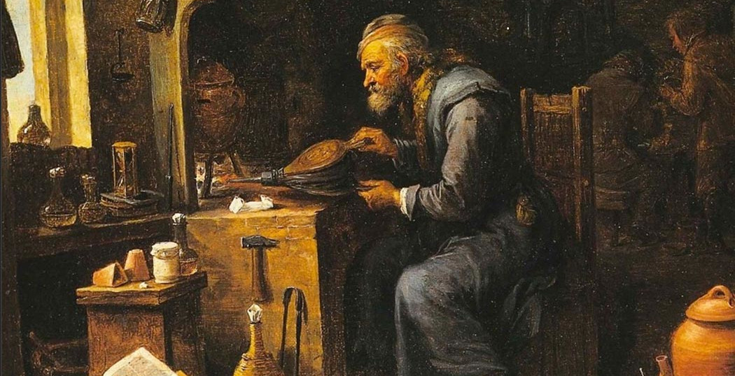 Painting of a renaissance chemist in an alchemy lab