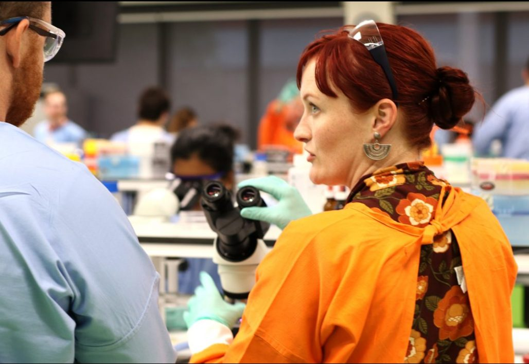 Two mature aged students in a laboratory