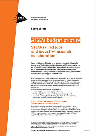 ATSE Budget Priorities 2020-21
