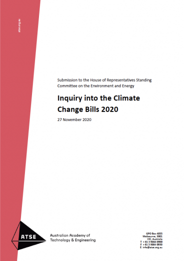 Cover of submission into Climate Change Bills