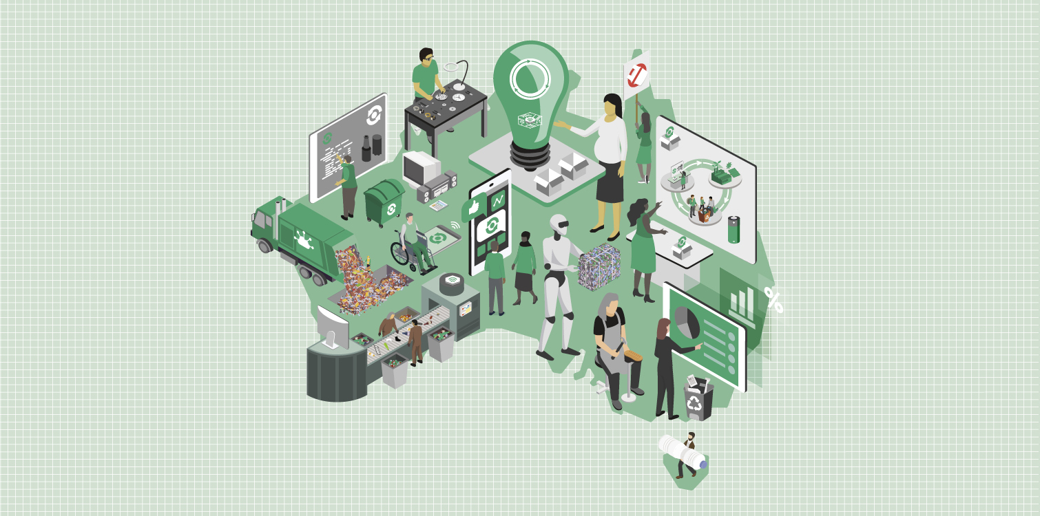 Map of Australia covered with circular economy activities